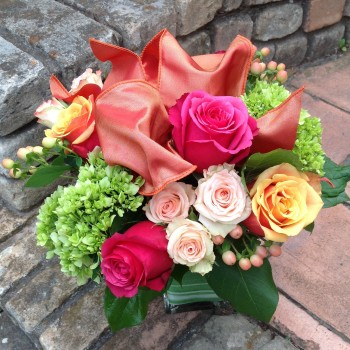Clustered Rose and Hydrangea Vase