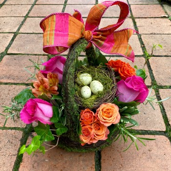 Spring Blooms in Moss Basket